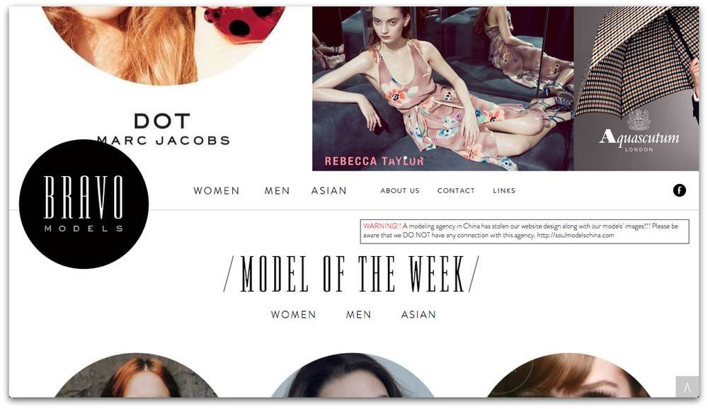 "A screen shot of the website of Bravo Models, a top Tokyo agency. Models are here categorized as ""Women"", ""Men"", or ""Asian"". 