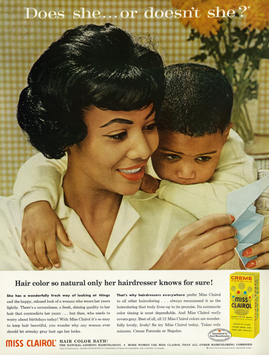 Advertisement for Miss Clairol Hair Color Bath targeting African American women in  Ebony  Magazine in April 1962 |  Source