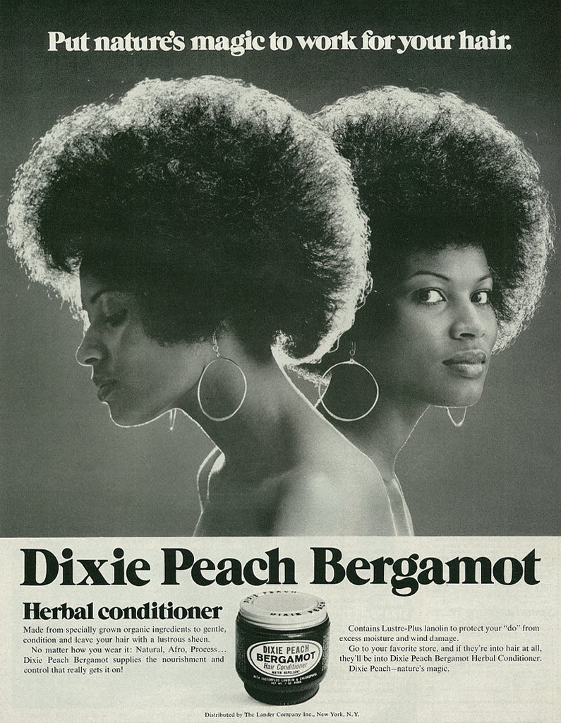 Advertisement for Dixie Peach Bergamot Herbal Conditioner published in  Ebony  magazine, July 1971, Vol. 26 No. 9