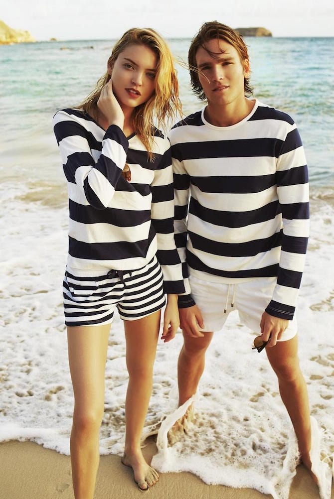 Ryan Mertz with Martha Hunt (IMG) for Solid & Striped S/S 15 by Derek Kettela | Source