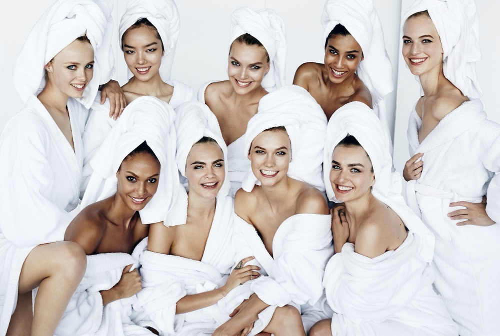 From left to right (clockwise): Edie Campbell, Fei Fei Sun, Arizona Muse, Imaan Hammam, Vanessa Axente, Andrea Diaconu, Karlie Kloss, Cara Delevingne, and Joan Smalls for Mario Testino's towel series via   Vogue