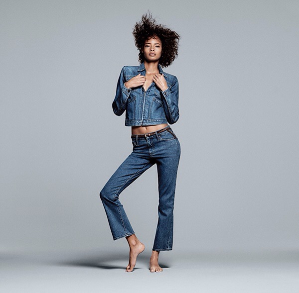 English model Malaika Firth (The Lions) for The Gap shot by David Sims. Firth also has a Marc Jacobs fragrance deal and has appeared in W.