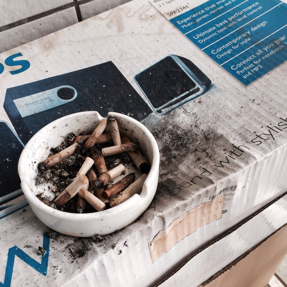 Legend has it that some of these cigarette butts are older than some of the models in the apartment