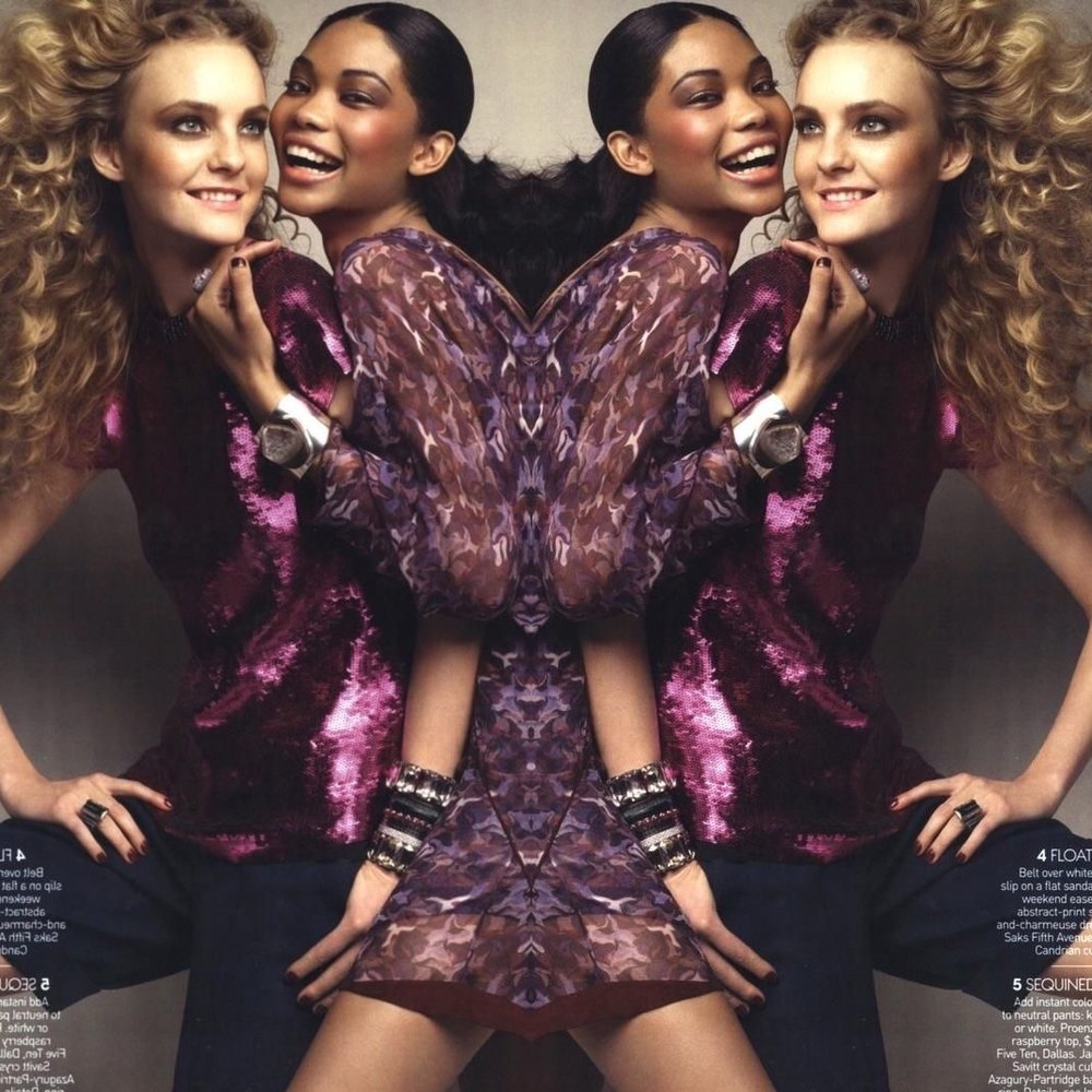 Original image: Caroline Trentini (The Society) & Chanel Iman (IMG) for  Vogue  June 2009 shot by Patrick Demarchelier |  Source