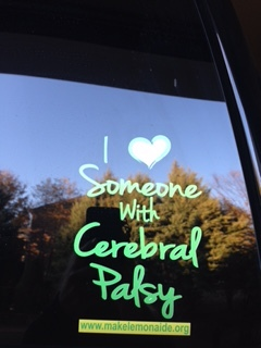 I Love Someone with Cerebral Palsy Car Decal.  Available in small and large sizes.  Click here for small.   Click here for large .