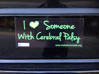 "I Love Someone with Cerebral Palsy Bumper Sticker.  Approximately 8"" x 3"".  Click here for details, and to order ."