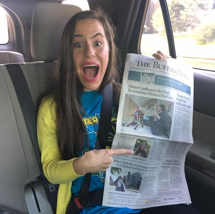 Lauren's reaction to her story being featured on the front page of The Buffalo New. Click image to read the article.