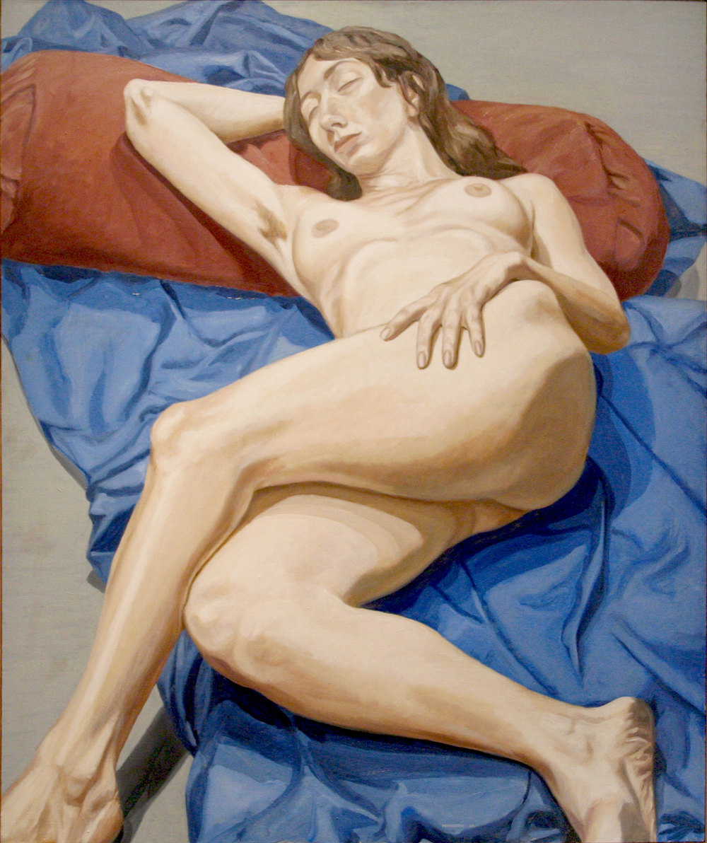 Nude on a Blue Drape , 1964 Oil on canvas  60 x 50 inches