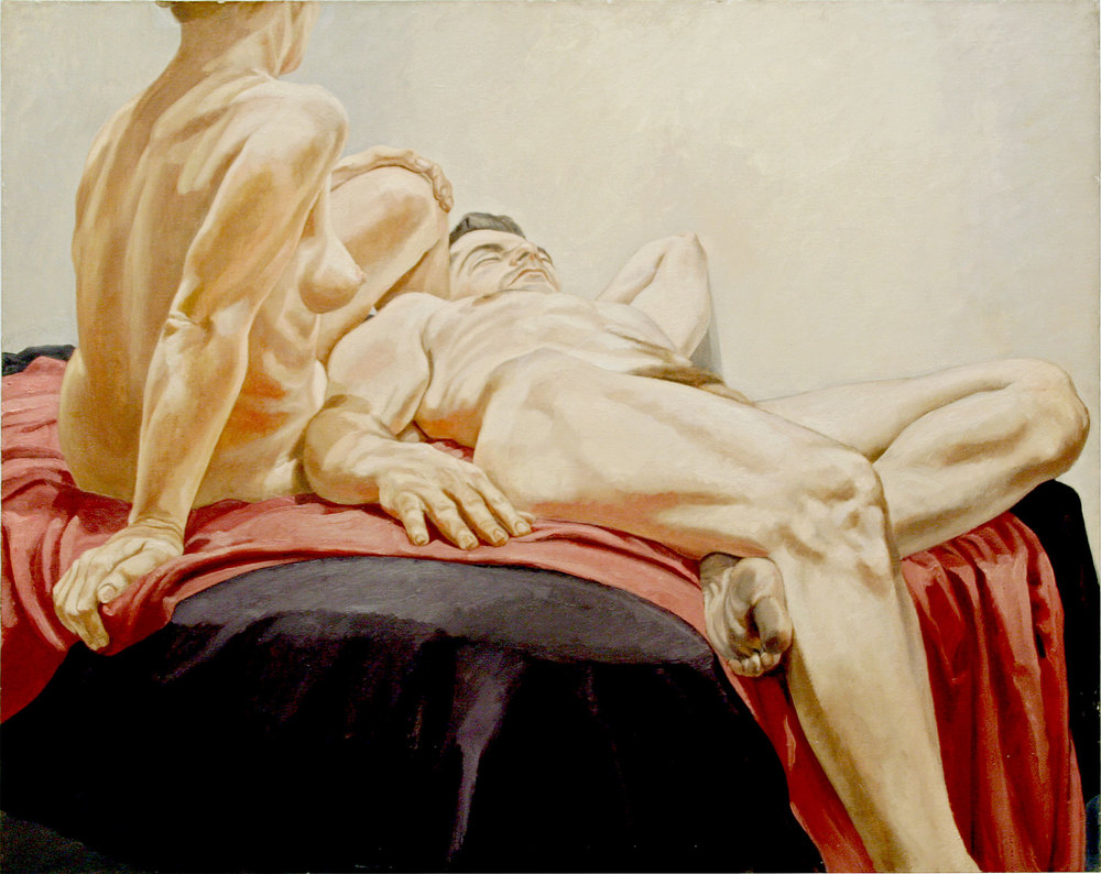 Reclining Male and Female Nudes on Red and Black Drapes , 1966  Oil on canvas  48 x 60 inches