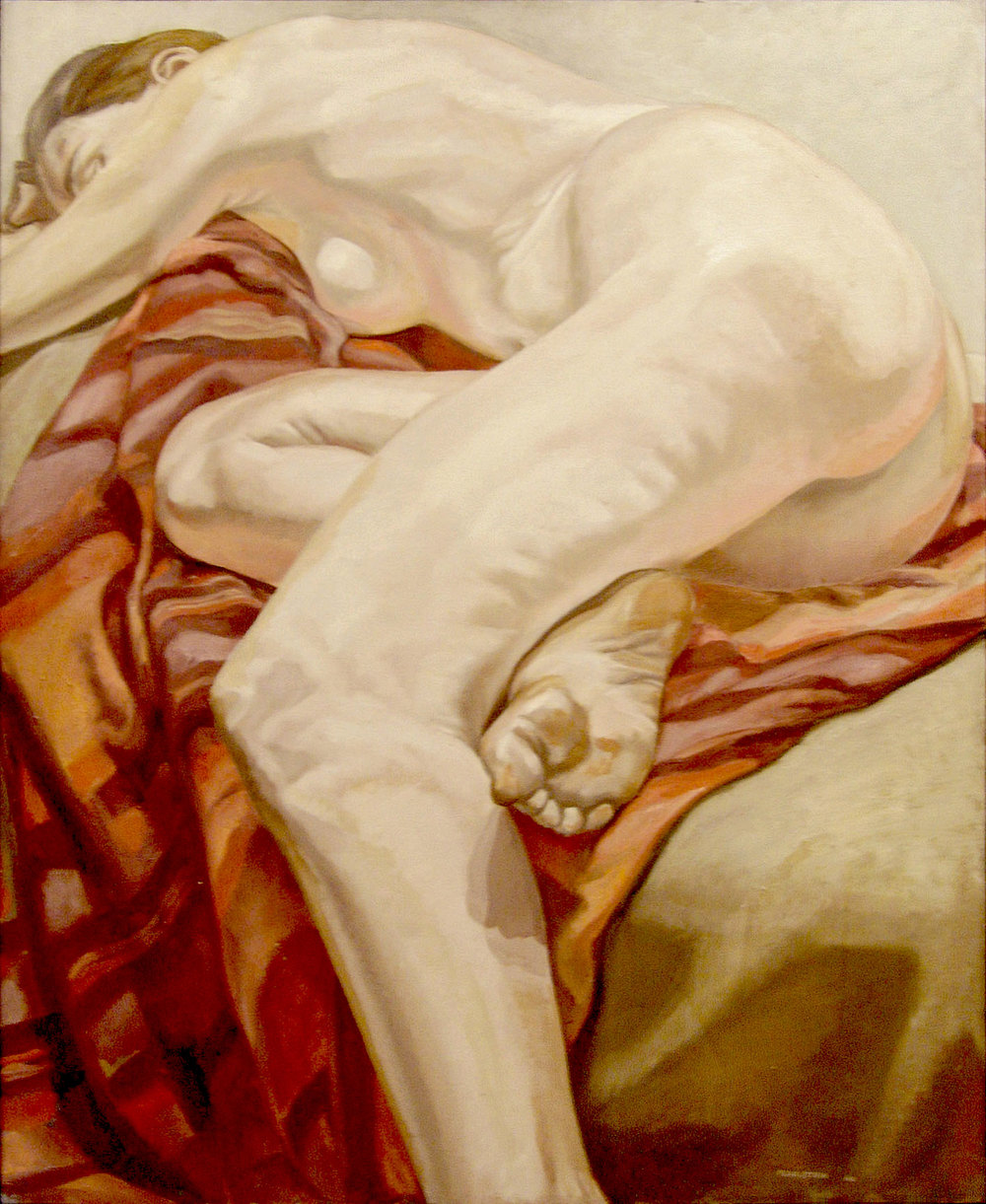 Reclining Model on Striped Cloth , 1966 Oil on canvas 44 x 36 inches
