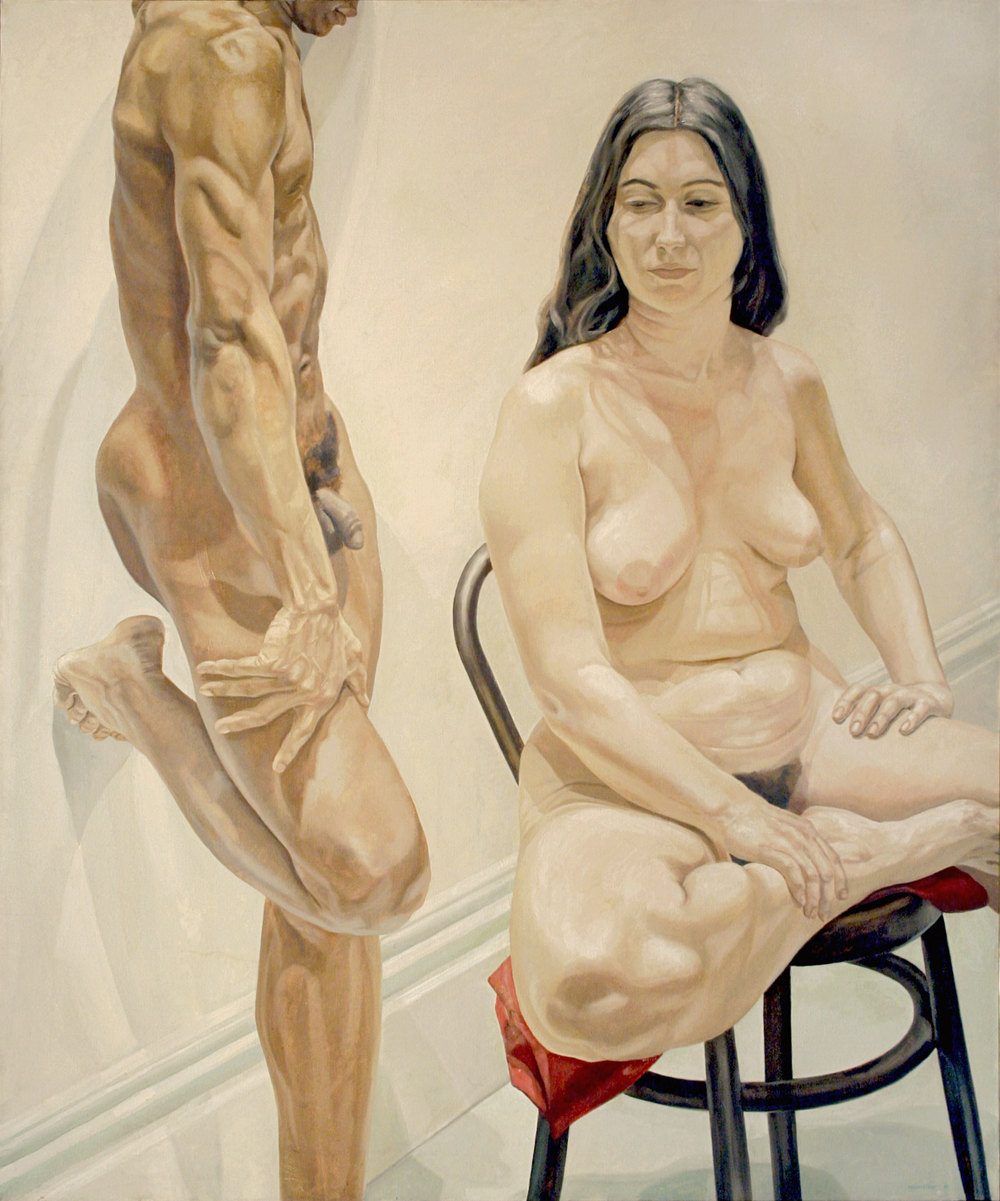 Standing Male, Sitting Female Nudes , 1969  Oil on canvas 74 x 62 inches