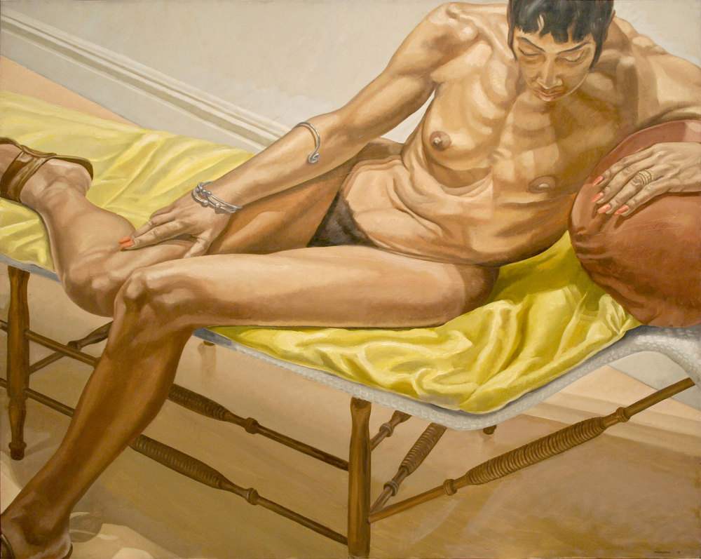 Reclining Female on Yellow Drape , 1969 Oil on canvas 46 x 60 inches
