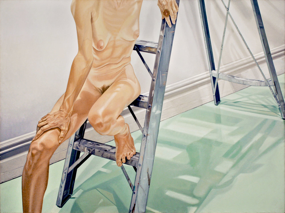 FEMALE MODEL ON LADDER  ,  1976 Oil on canvas 72 x 96 inches