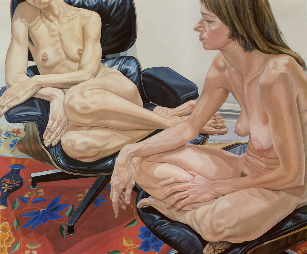 Two Female Models on Eames Chair and Stool  ,  1976 Oil on Canvas 60 x 72 inches