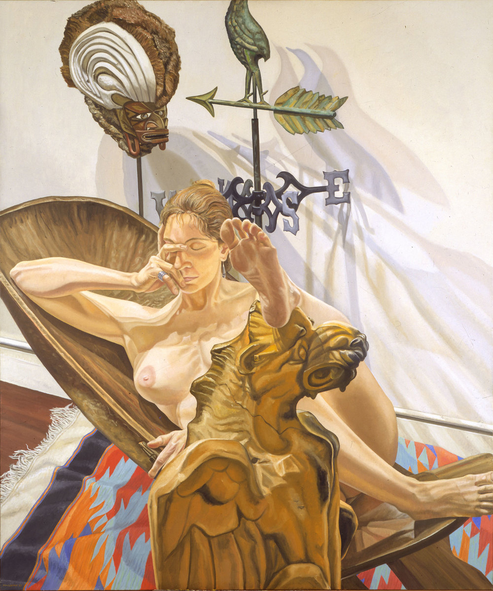 NUDE WITH GRIFFIN  ,  1988 Oil on canvas 72 x 60 inches Collection of the Tweed Museum of Art
