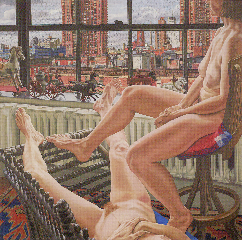 Two Models in a Window with Cast Iron Toys  ,  1987 Oil on canvas 72 x 72 inches Collection of Smithsonian American Art Museum