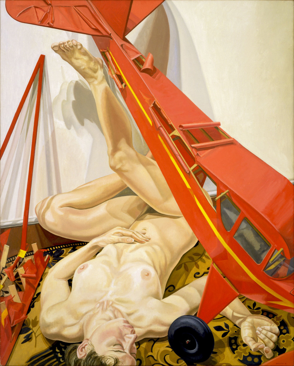 Nude with Red Airplane  ,  1988 Oil on canvas 60 x 48 inches