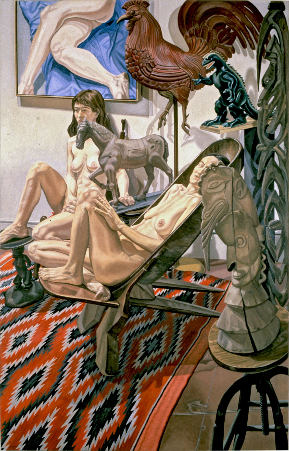 MODELS WITH GODZILLA, ETC ., 1990 Oil on canvas 96 x 60 inches