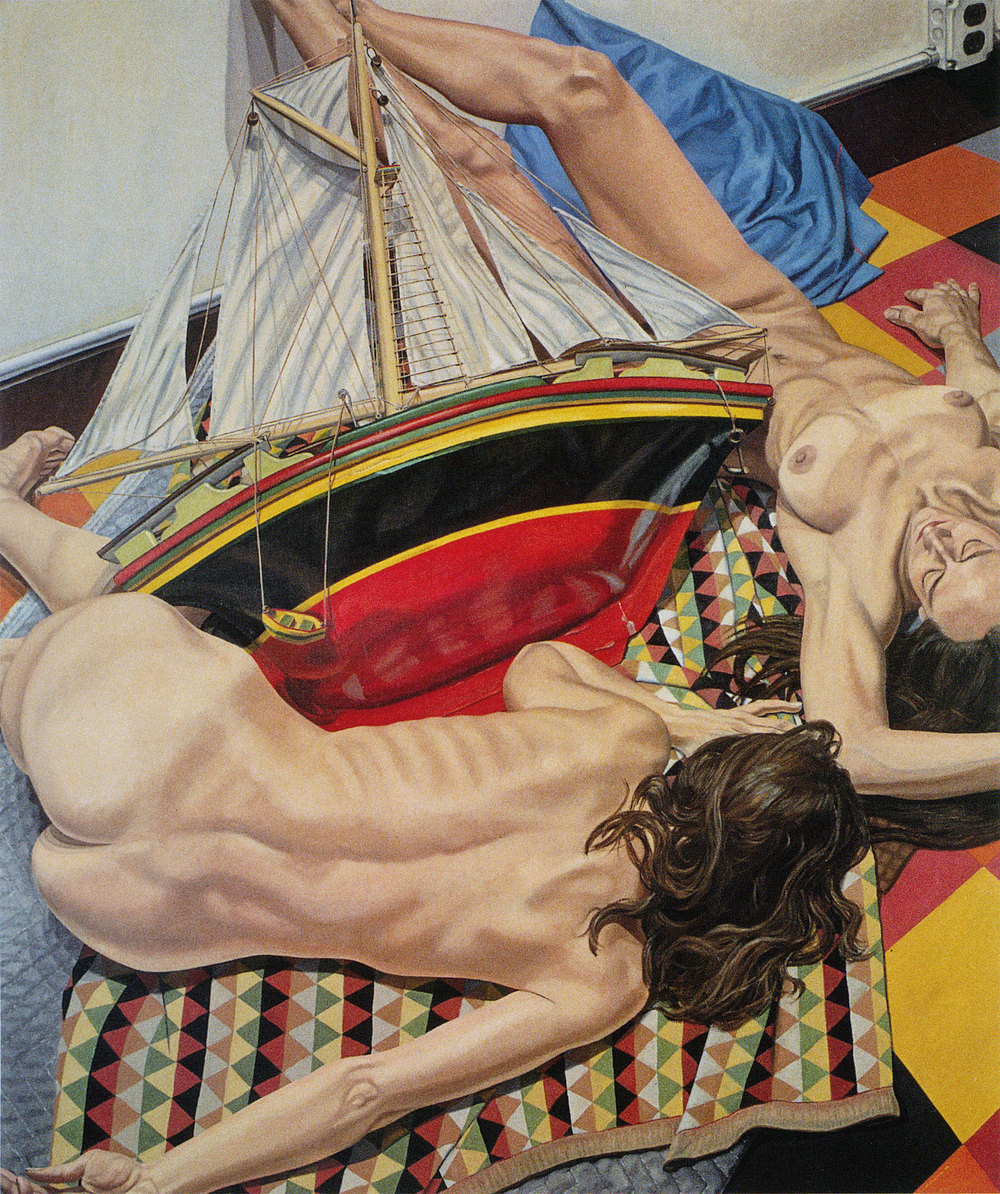MODELS WITH MODEL SHIP  ,  1990 Oil on canvas 72 x 60 inches