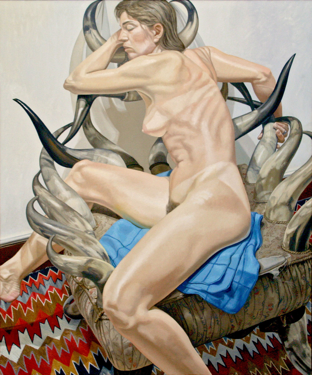 MODEL WITH HORN CHAIR , 1990  Oil on canvas   72 x 60 inches
