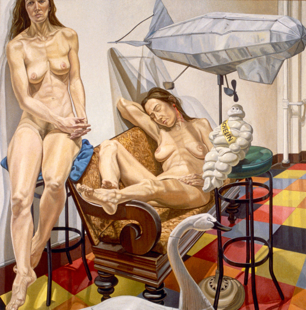 Models and Blimp , 1991  Oil on canvas   84 x 84 inches