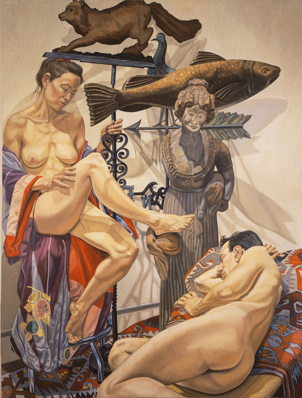 Fox, Fish, Models and Wooden Lady , 1991  Oil on canvas   96 x 72 inches