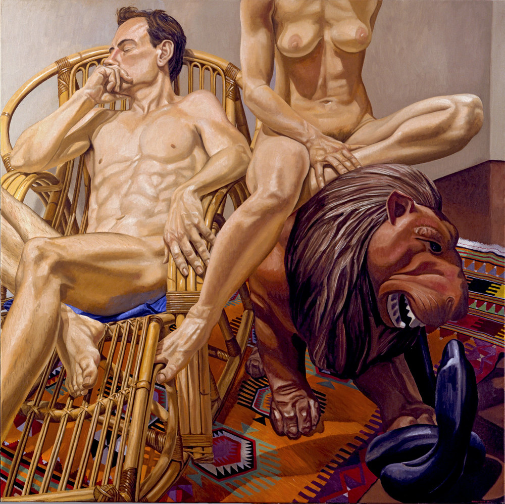 MALE AND FEMALE NUDES WITH LUNA PARK LION AND BAMBOO CHAIR , 1991 Oil on canvas 60 x 60 inches
