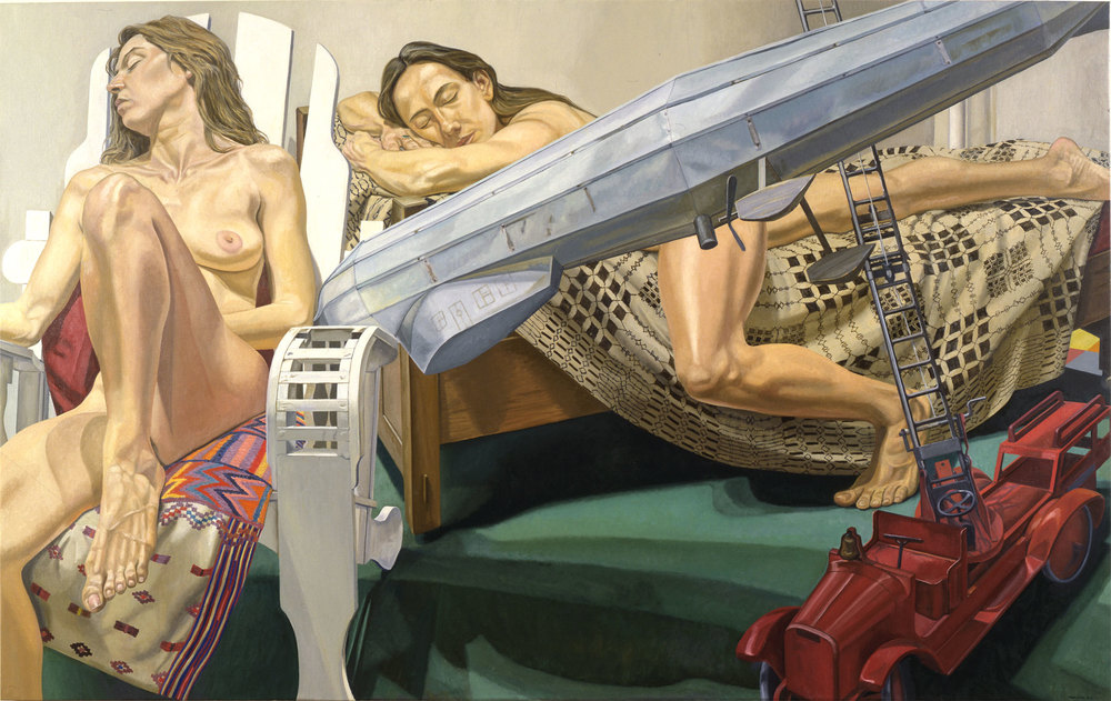 MODELS WITH DIRIGIBLE WEATHER VANE AND FIRE ENGINE , 1992 Oil on canvas 60 x 96 inches
