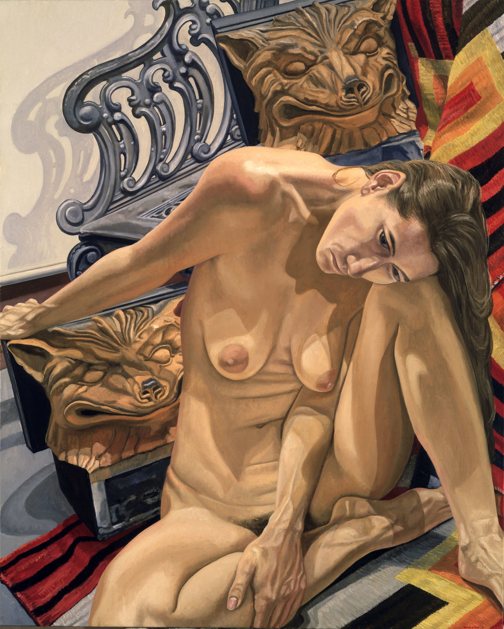 Model with Two Fox Heads , 1992  Oil on canvas   60 x 48 inches