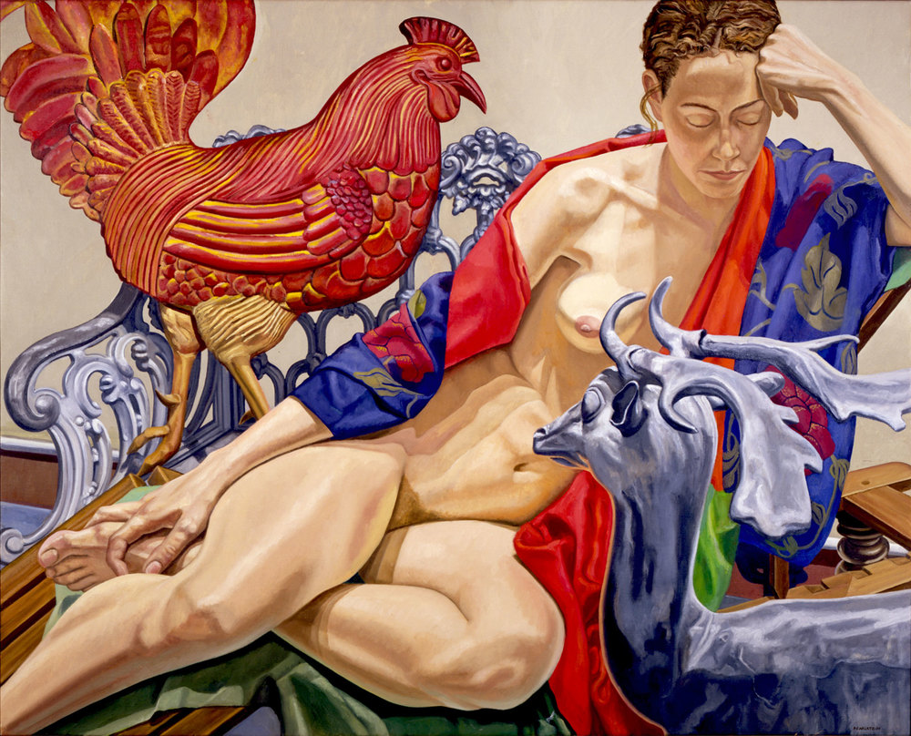 MODEL WITH ROOSTER AND DEER , 1993  Oil on canvas   49 x 61 inches