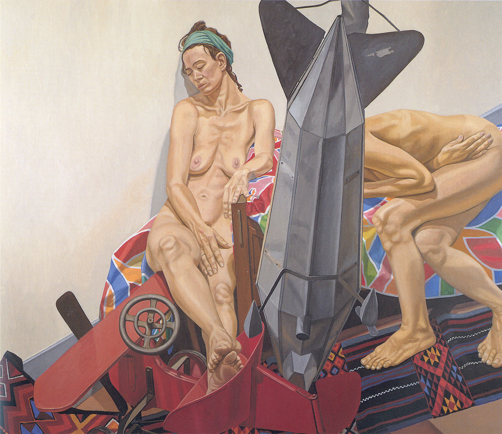 MODELS WITH DIRIGIBLE WEATHERVANE AND KIDDIE CAR AIRPLANE , 1992 Oil on canvas 72 x 84 inches