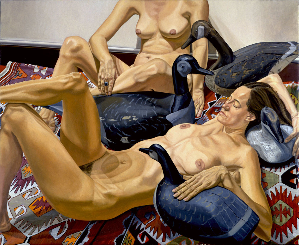Two Nudes with Four Goose Decoys , 1994 Oil on Canvas 60 x 72 inches