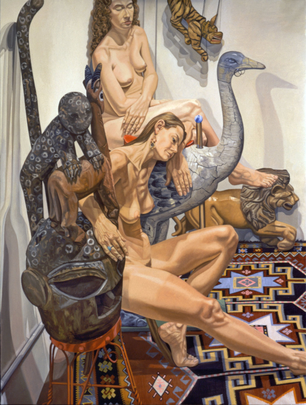 TWO NUDES WITH YORUBA MASK & CAROUSEL  OSTRICH   ,   1994   Oil on canvas   96 x 72 inches