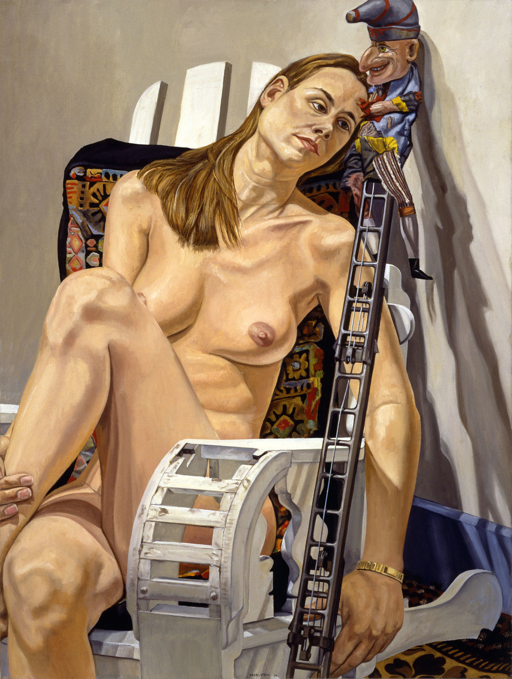 PUNCH ON A LADDER #2 , 1996  Oil on canvas   48 x 36 inches