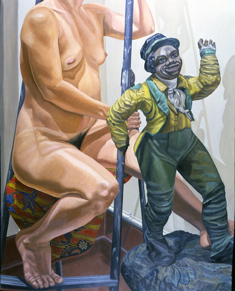 MODEL ON LADDER WITH MINSTREL FIGURES  ,  1986  Oil on canvas   60 x 48 inches