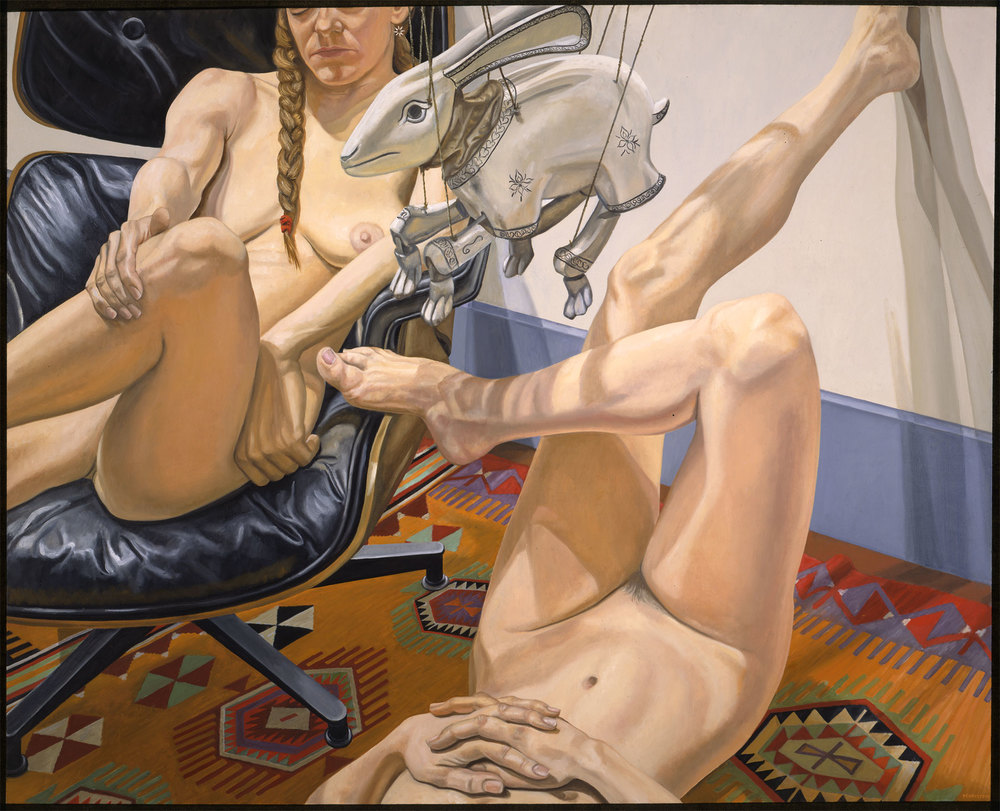TWO NUDES, RABBIT MARIONETTE , 1997 Oil on canvas 48 x 60 inches