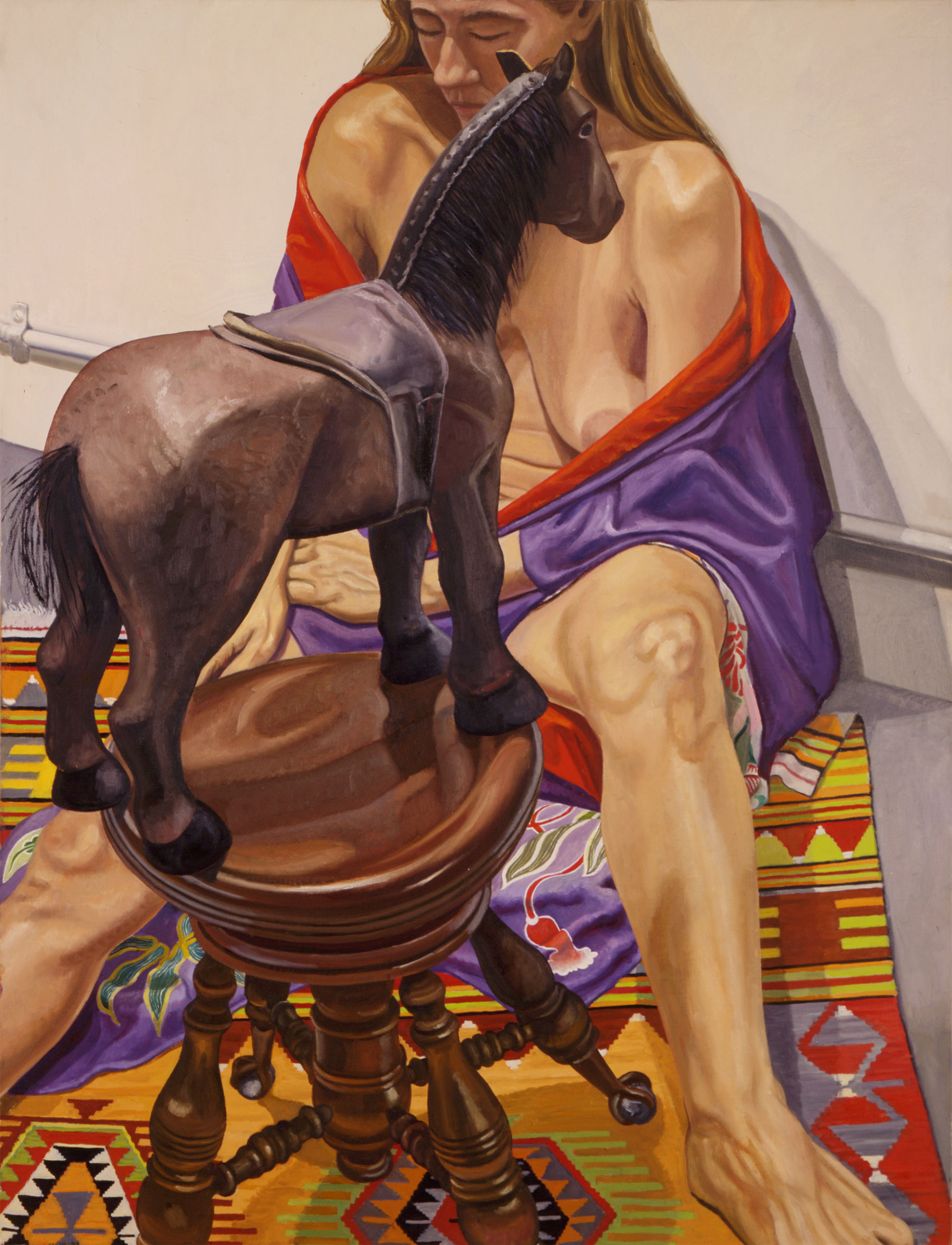 Nude in Kimono with Folk Art Horse on Piano    Stool   ,   1998   Oil on canvas   48 x 36 inches