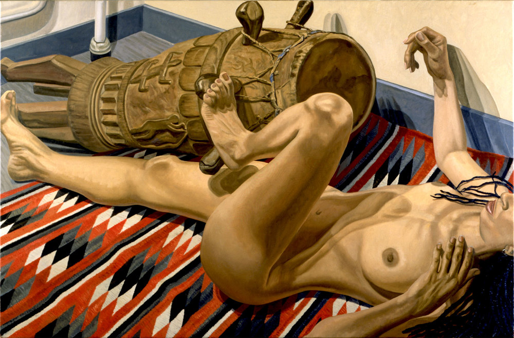 Model with Dreadlocks, Navajo Blanket and Old African Drum , 1999 Oil on canvas 40 x 60 inches