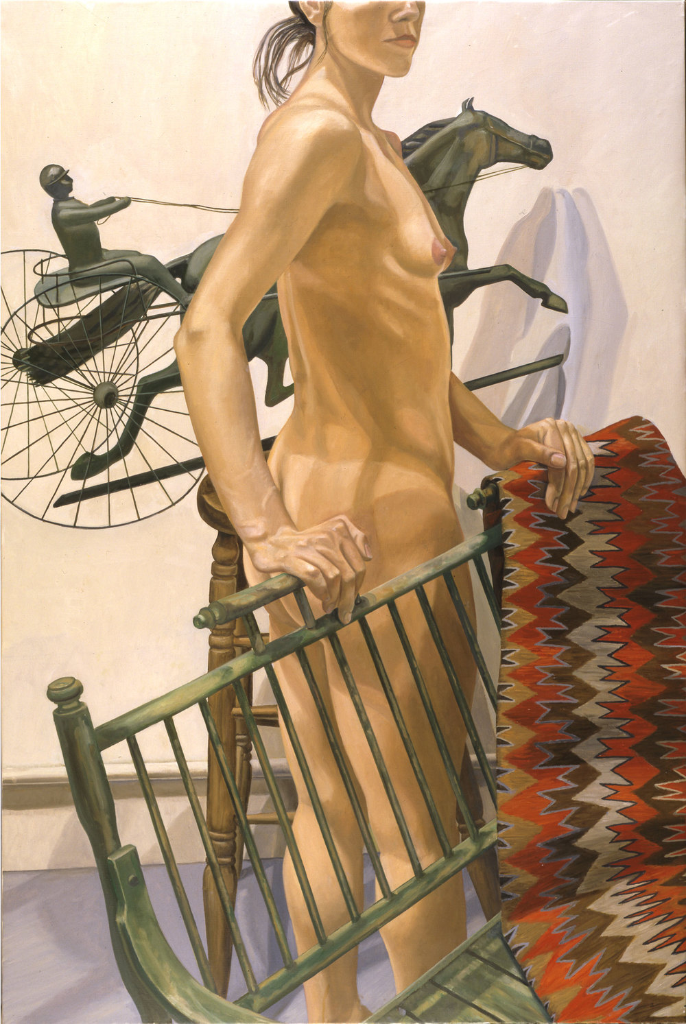 MODEL WITH GREEN BENCH AND HARNESS RACER ,  1999   Oil on canvas   60 x 40 inches
