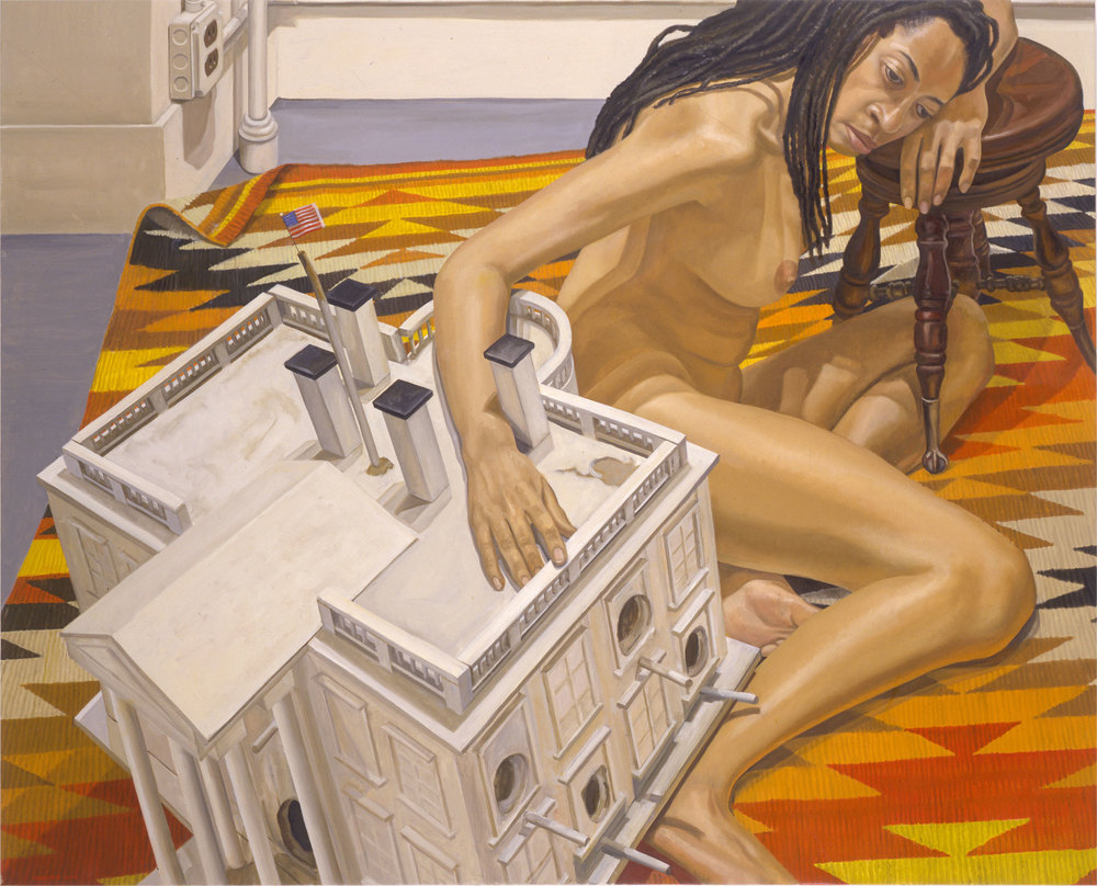 Model with Dreadlocks and Whitehouse Birdhouse , 2000  Oil on canvas   48 x 60 inches