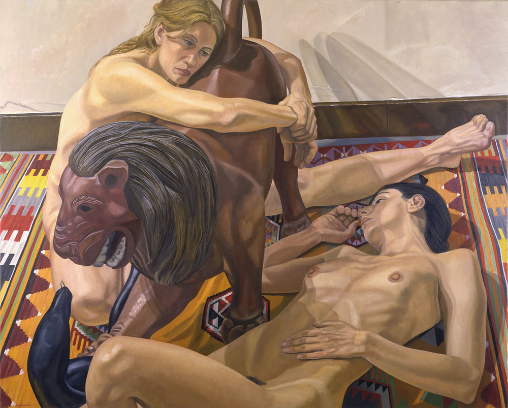 LUNA PARK LION WITH TWO MODELS, ONE LEANING ON LION , 2001 Oil on canvas 48 x 60 inches