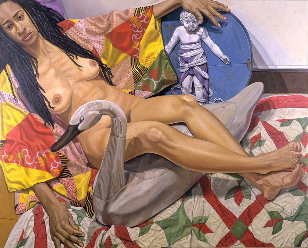MODEL WITH DREADLOCKS AND KIMONO WITH SWAN AND RENAISSANCE BAMBINO , 2001 Oil on canvas 48 x 60 inches