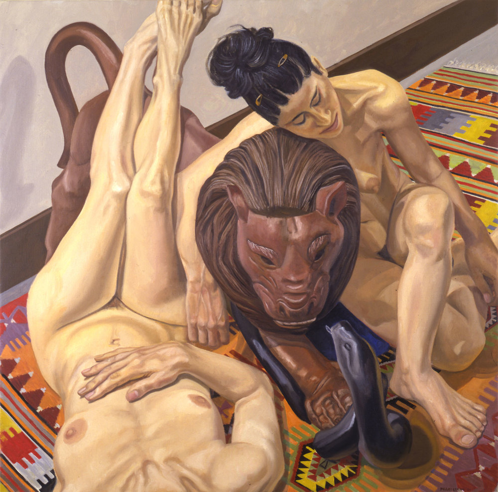 LUNA PARK LION WITH SNAKE AND TWO MODELS, ONE WITH LEGS UP , 2001 Oil on canvas 33 x 33 inches