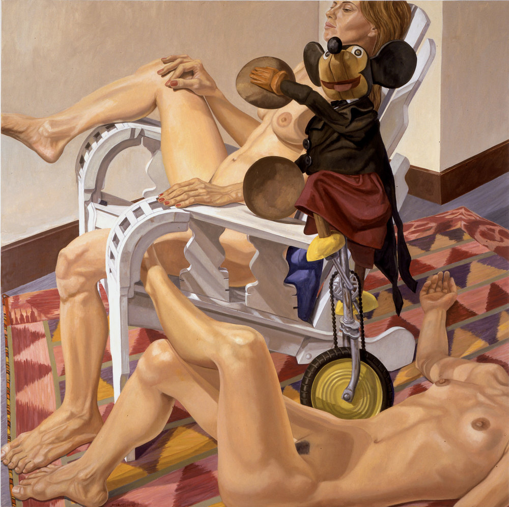 TWO FEMALE NUDES AND MICKEY MOUSE  ,  2001 Oil on canvas 60 x 60 inches