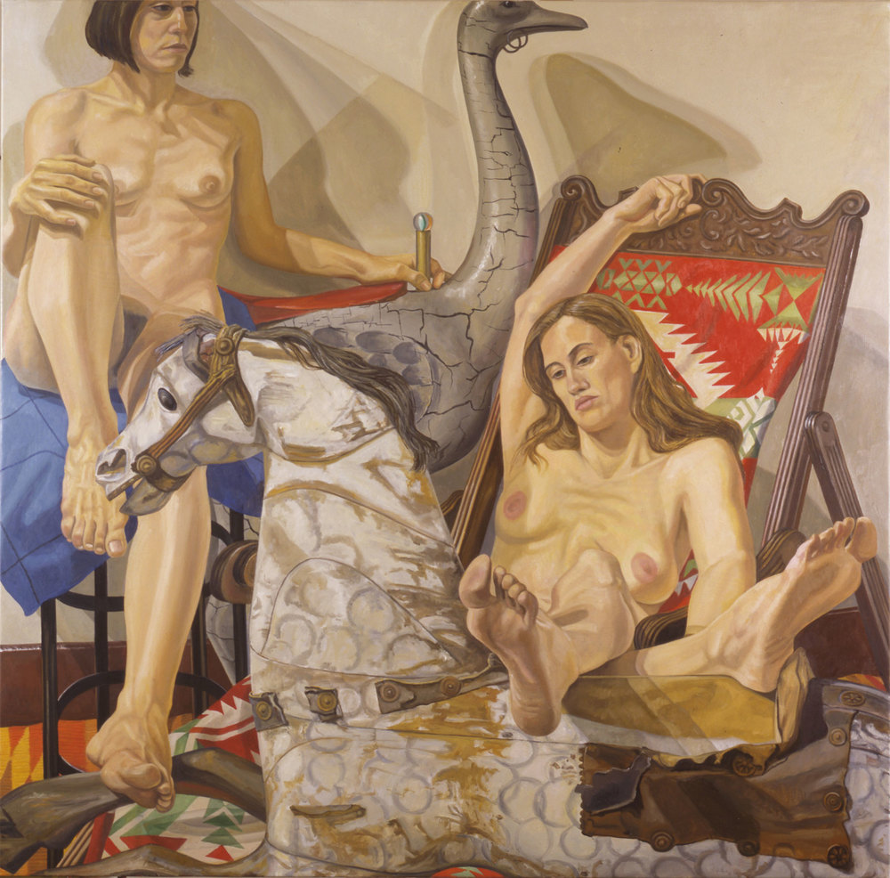 TWO MODELS WITH HOBBY HORSE AND CAROUSEL OSTRICH , 2002 Oil on canvas 60 x 60 inches