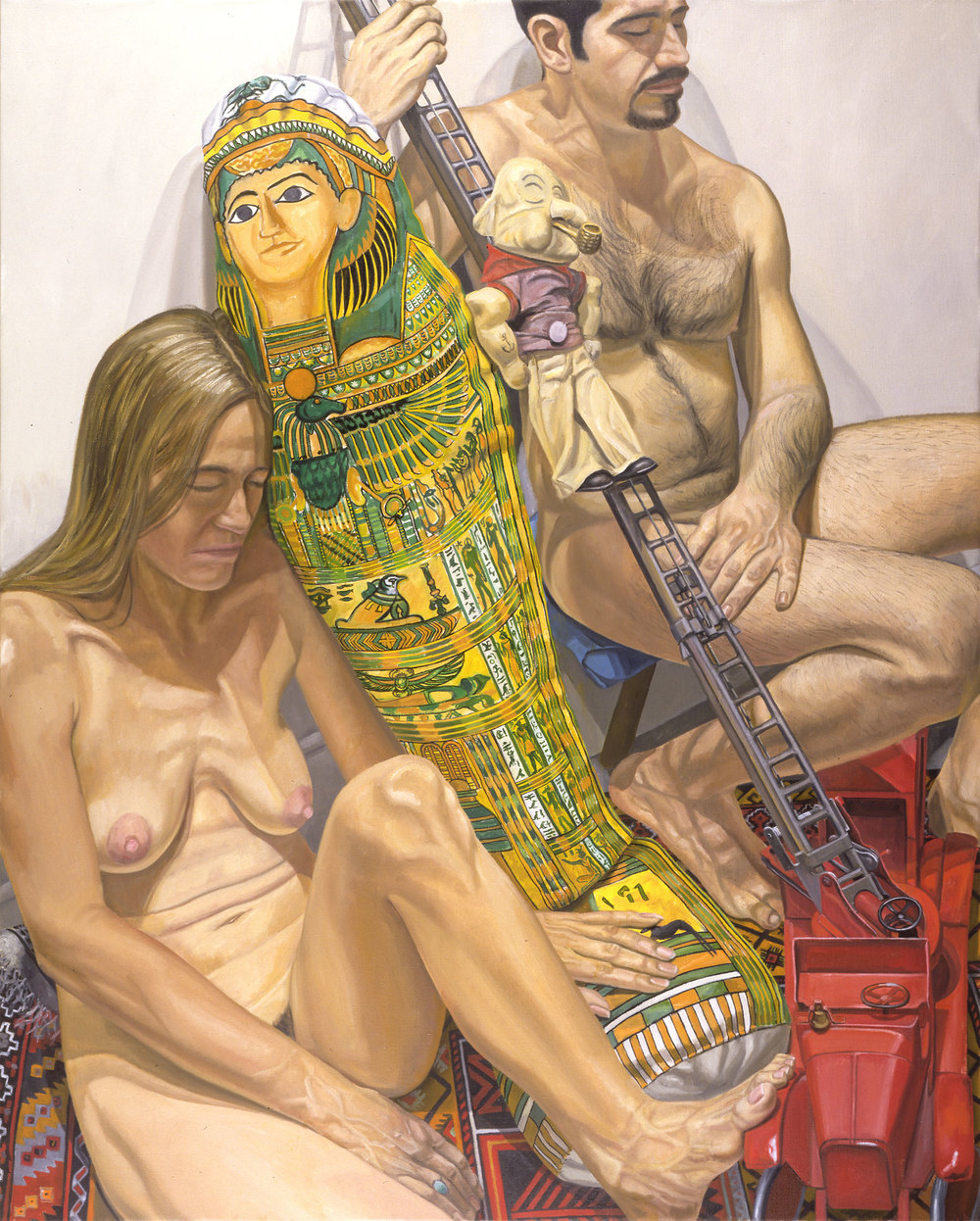 TWO MODELS WITH MUMMY BALLOON AND TOY FIRE ENGINE , 2001 Oil on canvas 60 x 48 inches