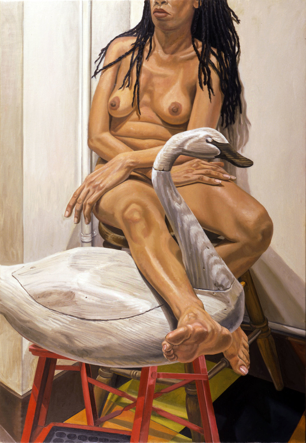 Model with Swan Decoy on Ladder , 2002 Oil on canvas 50 x 34 inches