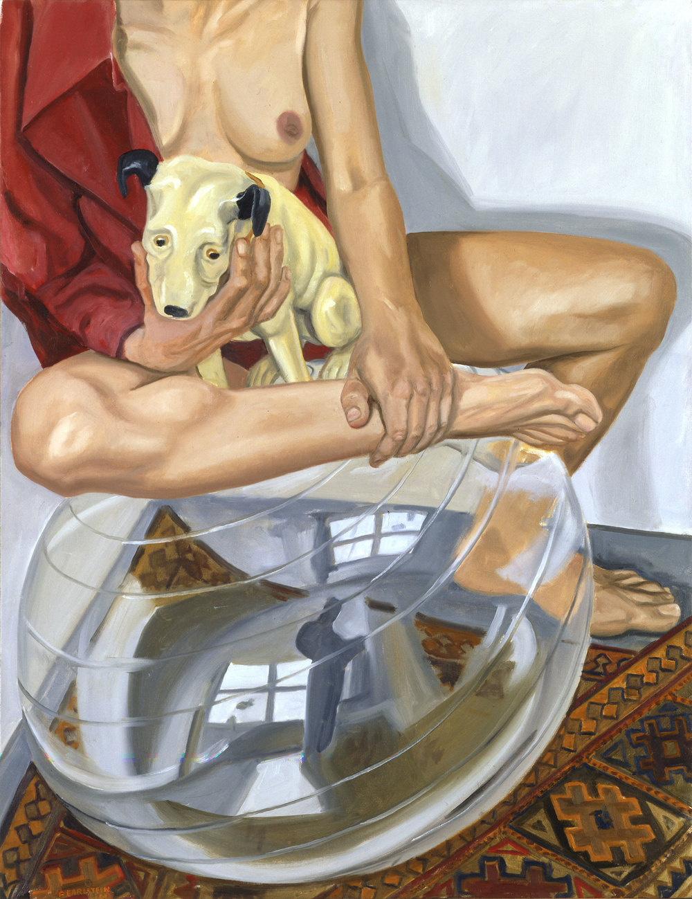 MALE AND FEMALE NUDE WITH HIS MASTER'S VOICE  AND EXERCISE BALL   ,   2003   Oil on canvas   48 x 60 inches