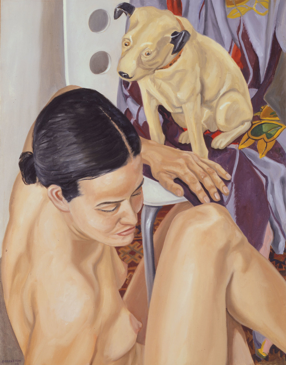 MODEL WITH HIS MASTER'S VOICE DOG , 2003 Oil on canvas 34 1/4 x 26 5/8 inches