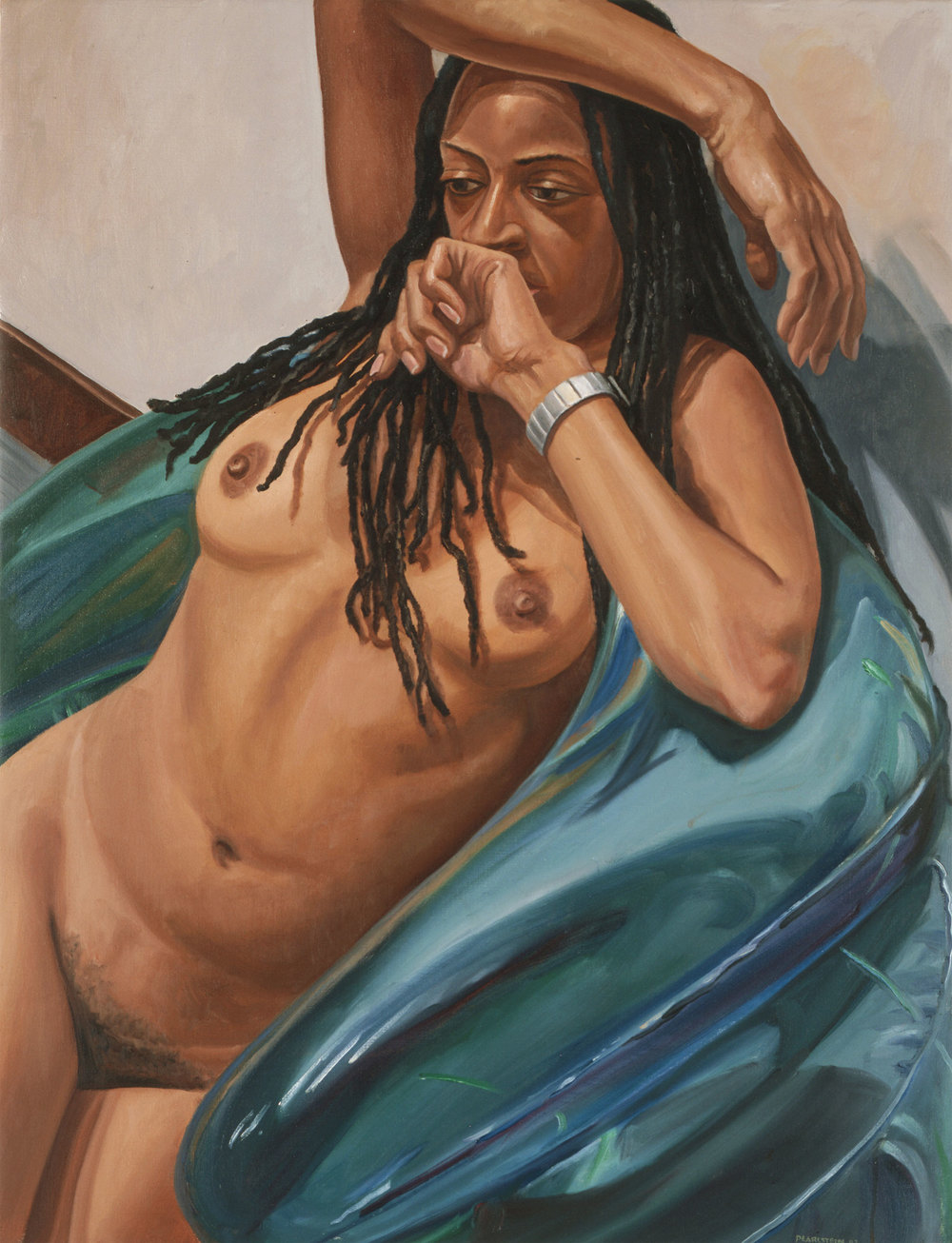 MODEL WITH DREADLOCKS ON BLUE BLOW-UP CHAIR ,  2003   Oil on canvas   29 x 38 inches